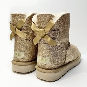 UGG Mini Bailey Bow Gold Sparkle Boots Glitter NEW